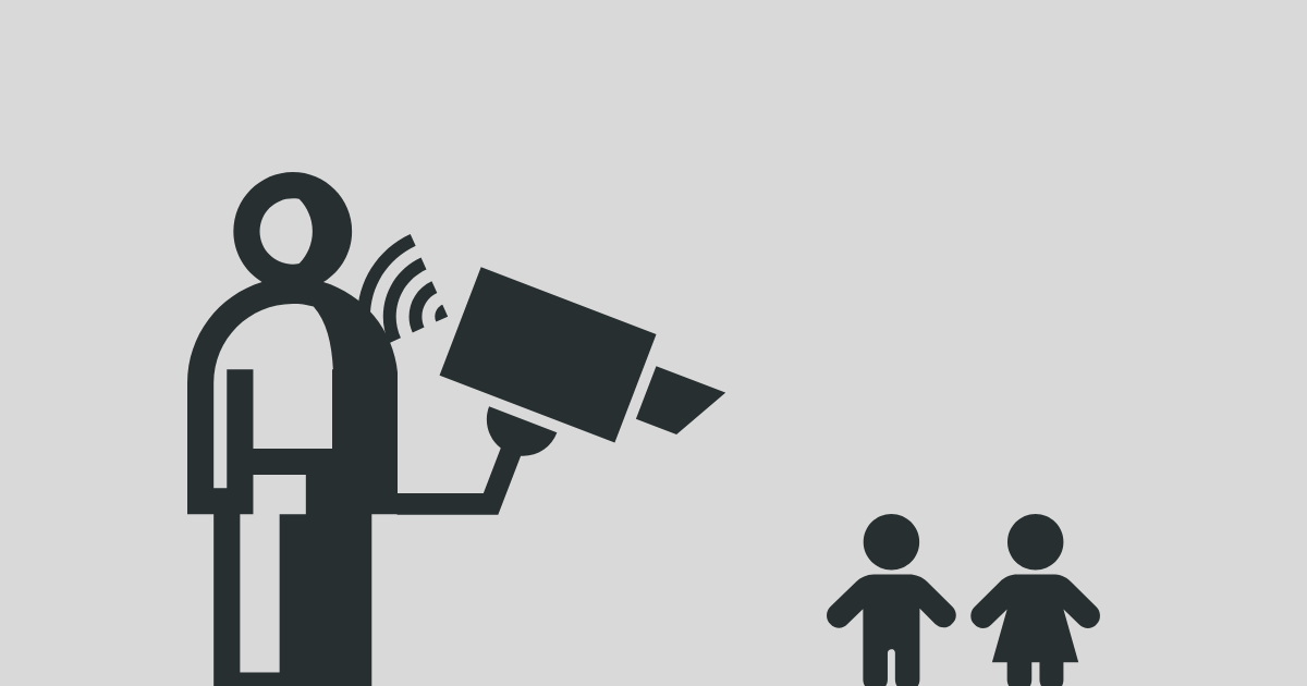 Minimalist iconographic rendering of an adult male filming two children as a statement against child sexual abuse