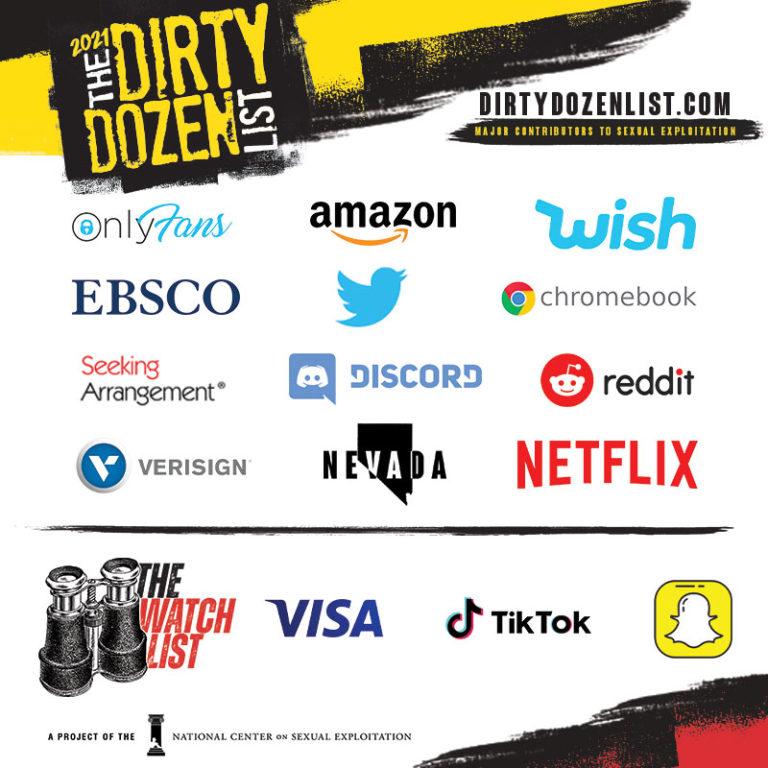 STATEMENT - Mainstream Contributors to Sexual Exploitation on NCOSE 2021 Dirty Dozen List Revealed