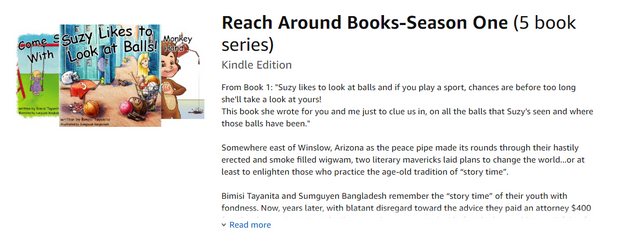 """Screenshot of """"Reach Around"""" book series as listed on Amazon"""