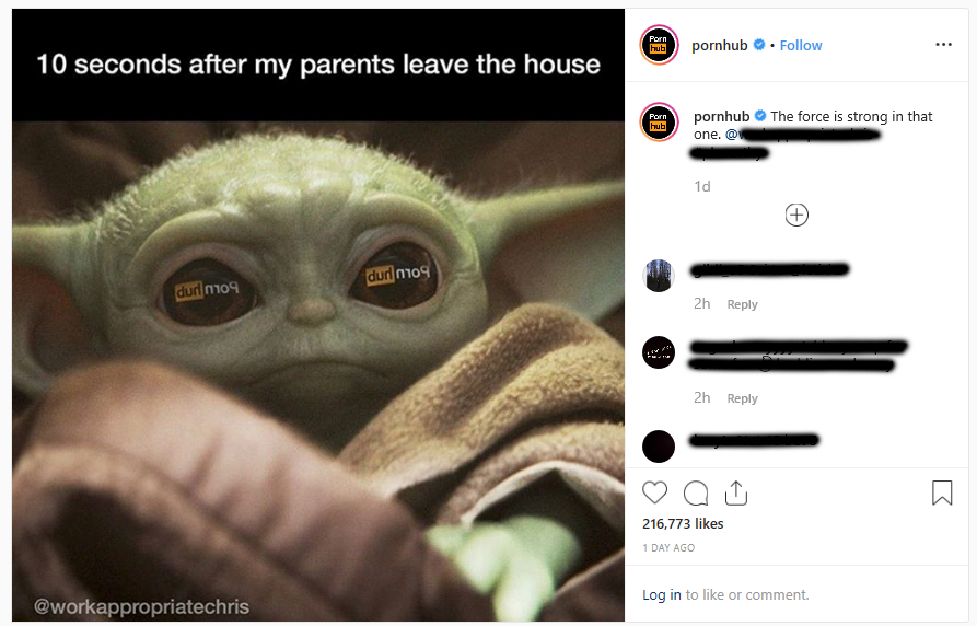 Screenshot of Pornhub's Instagram reshare of the Baby Yoda meme created by @workappropriatechris