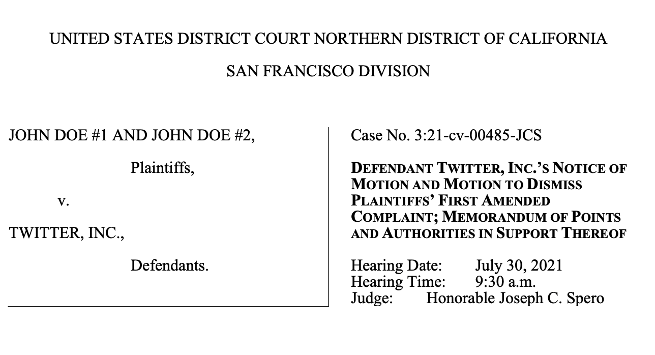 Screenshot of Twitter's motion to dismiss the lawsuit John Doe v Twitter|Were you exploited on Twitter? Connect with our legal team about the Twitter lawsuit today.